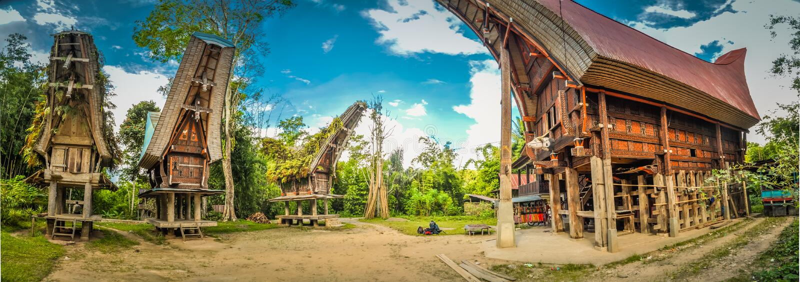 Vier tongkonans in Sulawesi stock fotografie