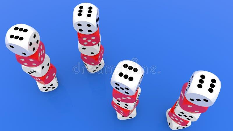 Vier torens van dobbelt in rood en wit op blauwe hoogste mening vector illustratie
