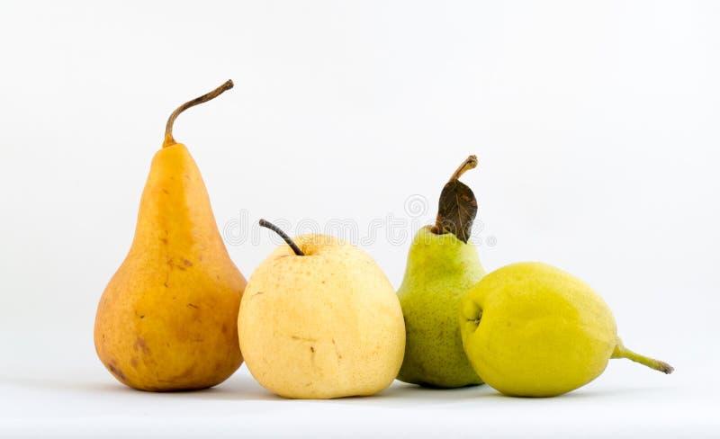 Vier Typen Birnen stockbilder