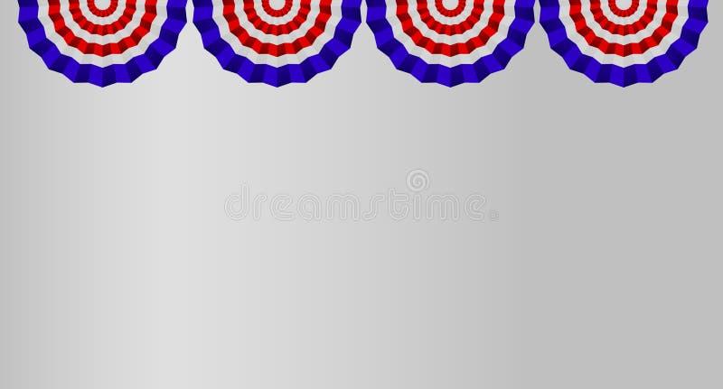 Vier US-Flaggen-Flaggen lokalisiert auf weißem Hintergrund stock abbildung