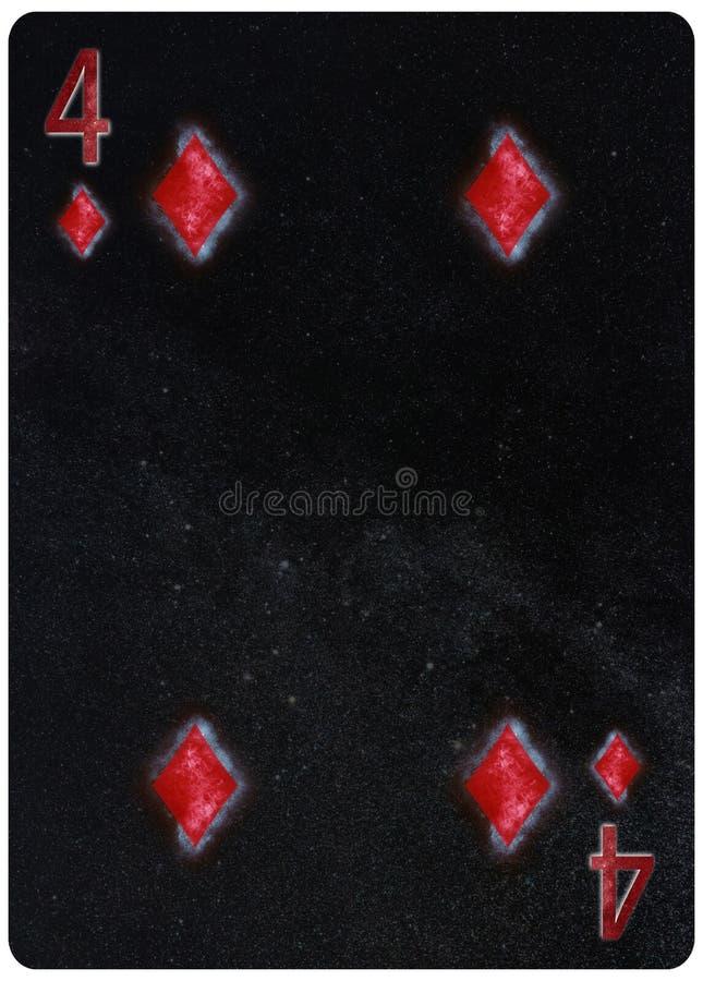 Vier van de Abstracte Achtergrond van de diamantenspeelkaart royalty-vrije illustratie