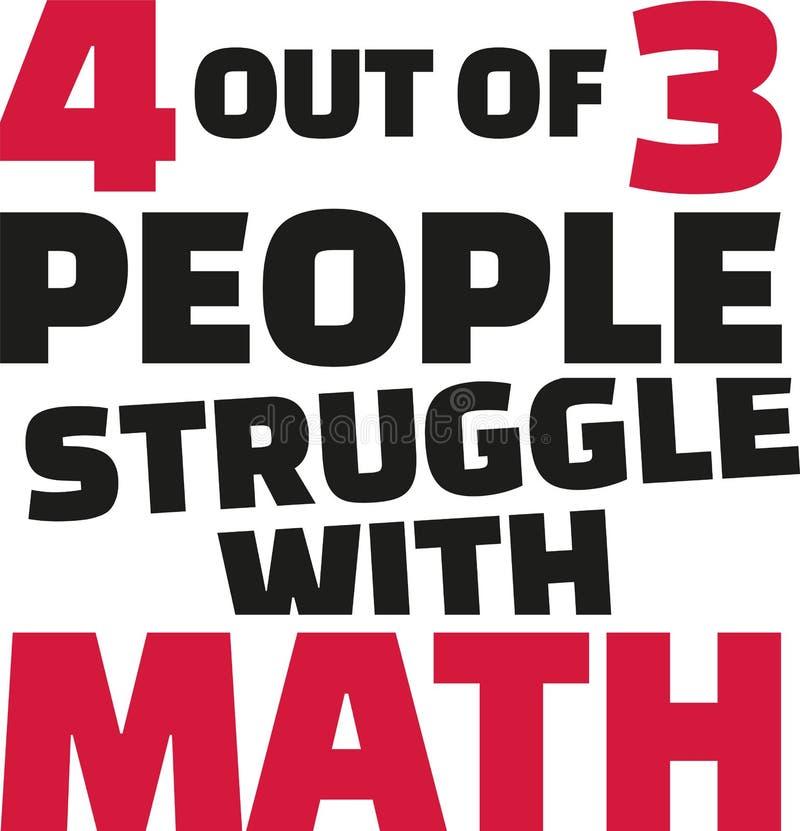 Vier van de drie mensenstrijd met wiskunde Het grappige zeggen vector illustratie