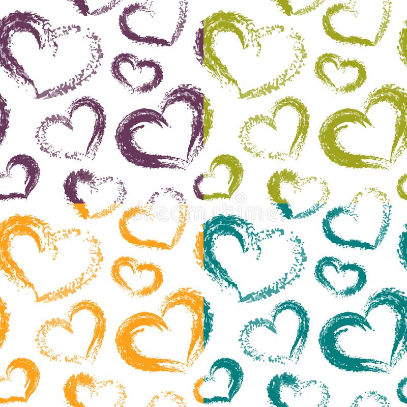 Vier Vector Droge Borstel Valentine Hearts Patterns Colorful op Whit vector illustratie