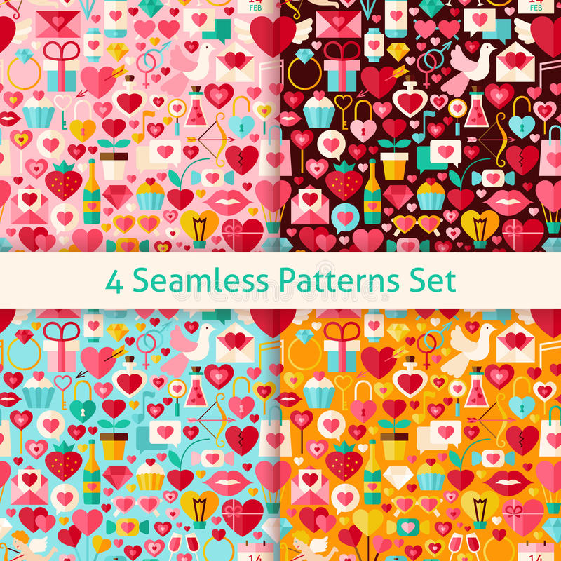 Vier Vector Vlak Valentine Day Seamless Patterns Set royalty-vrije illustratie