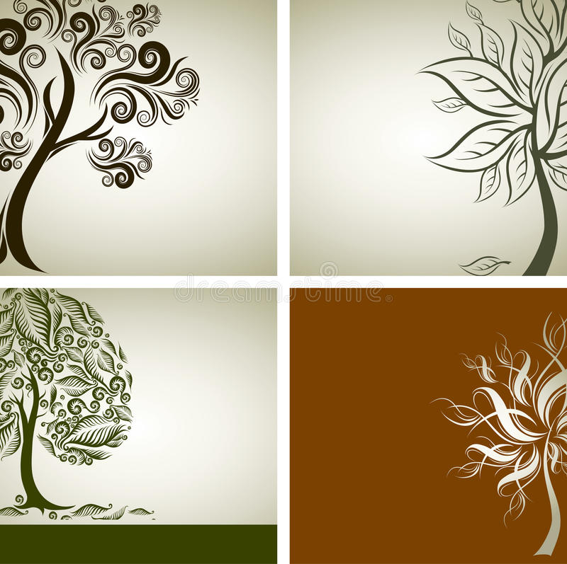 Vier vektorproben Auslegung mit dekorativem Baum stock abbildung