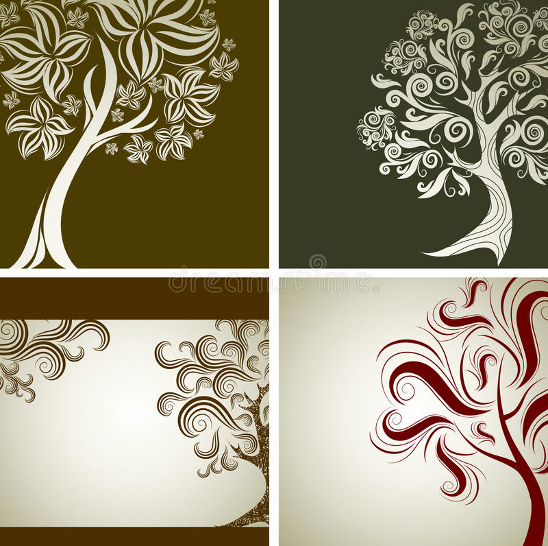 Vier vektorproben Auslegung mit dekorativem Baum lizenzfreie abbildung