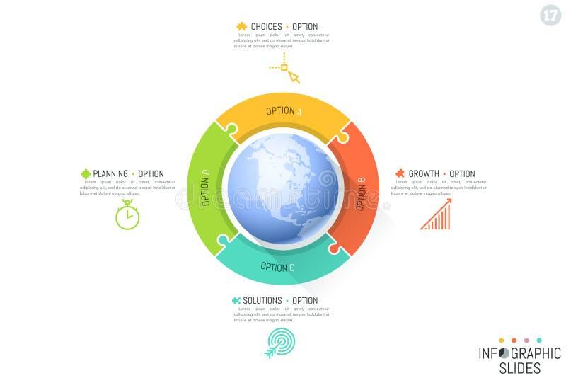 Vier verbonden die puzzelstukken rond bol worden geplaatst Globale mededeling en internationaal bedrijfsvoorzien van een netwerk stock illustratie