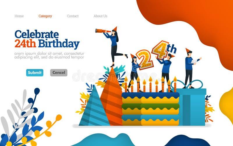 Vier verjaardagen, vieringsdagen, 24ste verjaardag verjaardagscake en materiaal Vector vlak illustratieconcept, marketing stock illustratie