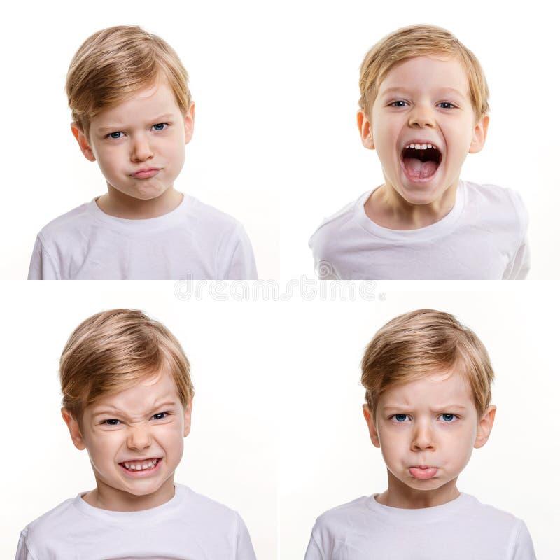 Vier verschiedene Gesichtsausdrücke des netten Vorschuljungen lizenzfreie stockbilder