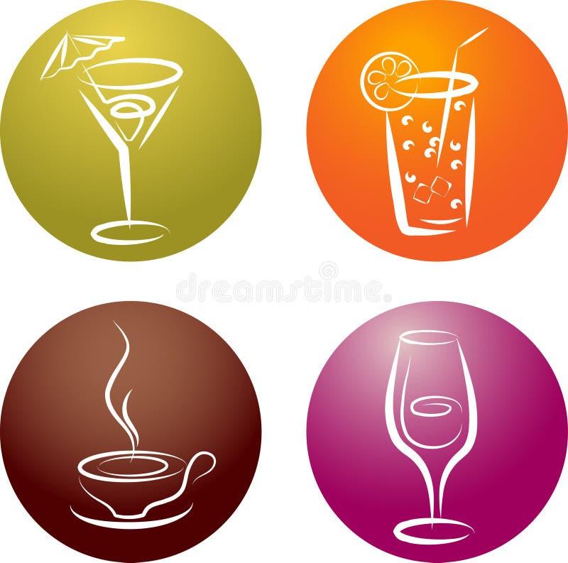 Vier verschiedene Getränkeikonenzeichen stock abbildung