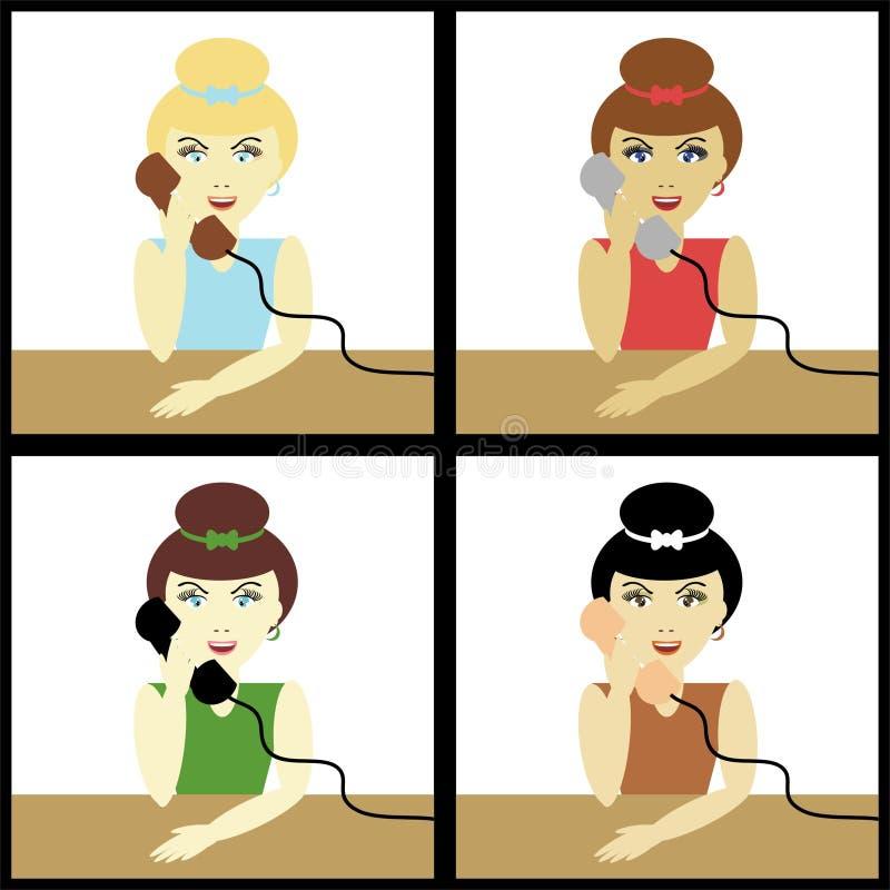 Vier verschiedene Mädchen mit Telefonen stock abbildung
