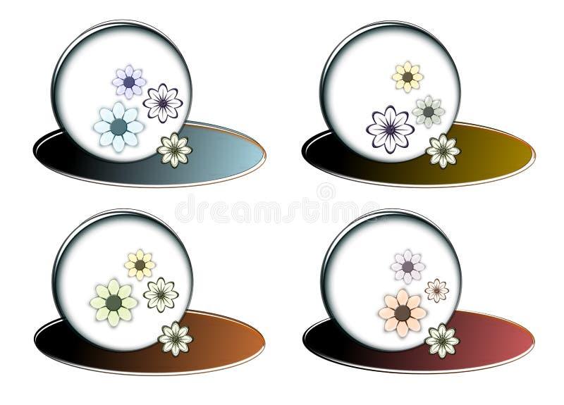 Vier verschillende bellen met kleurenbloemen royalty-vrije stock afbeelding