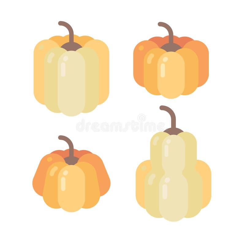 Vier verschillende gevormde pompoenen vlakke pictogrammen stock illustratie