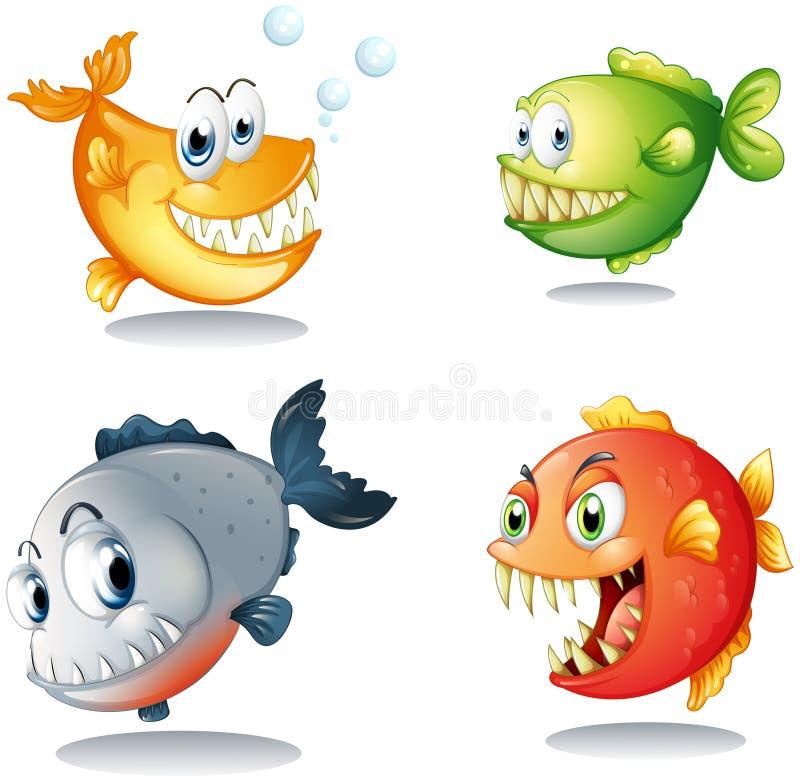Vier verschillende soorten vissen met grote hoektanden vector illustratie