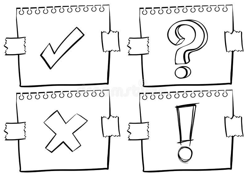 Vier verschillende tekens op papier royalty-vrije illustratie