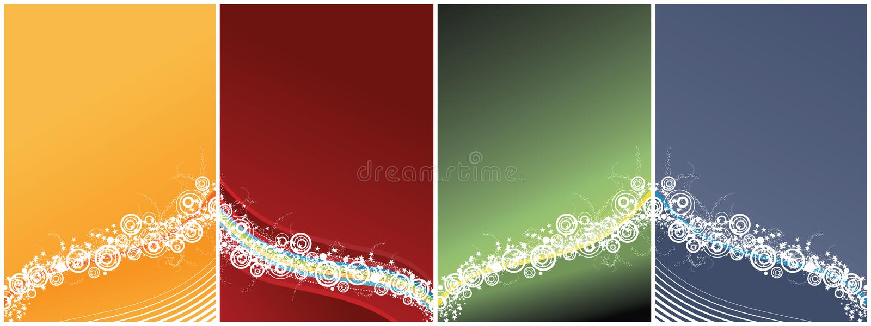 Vier vieringsachtergronden stock illustratie