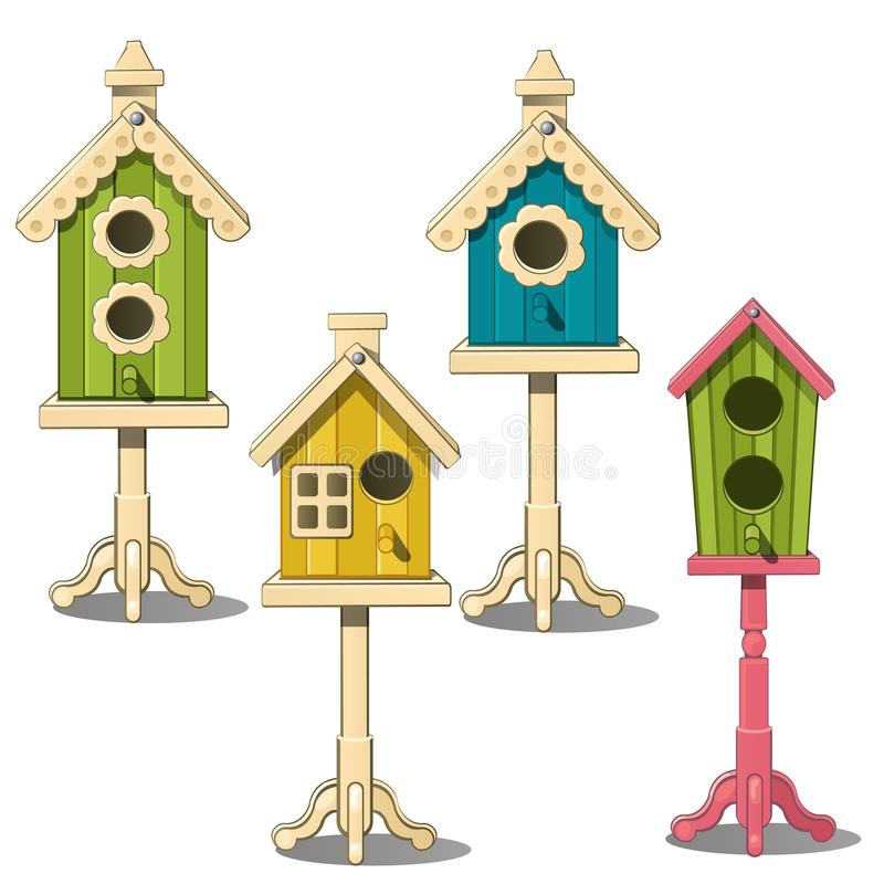Vier Vogelhäuser auf einem Stand Grünes, gelbes, blaues Vogelhaus vektor abbildung