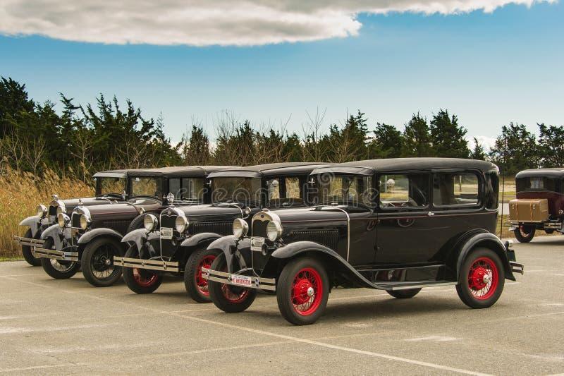 Vier 1930 vorbildliches A Fords am Hammonasset-Strand-Nationalpark, CT lizenzfreie stockfotos