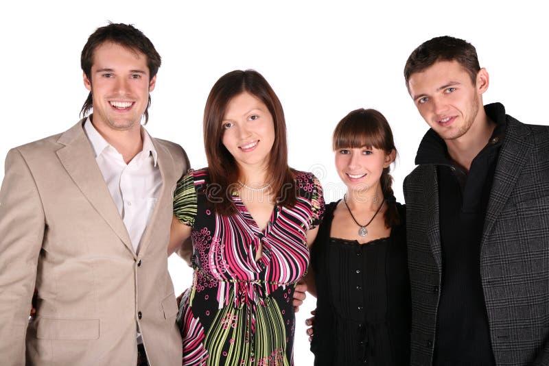 Vier vrienden het stellen royalty-vrije stock afbeelding