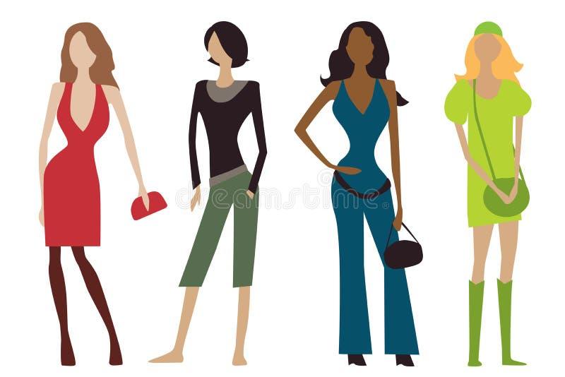 Vier vrouwelijke personages stock illustratie