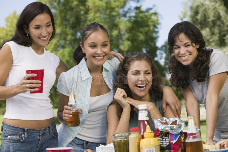 Vier vrouwen bij picknick stock afbeeldingen