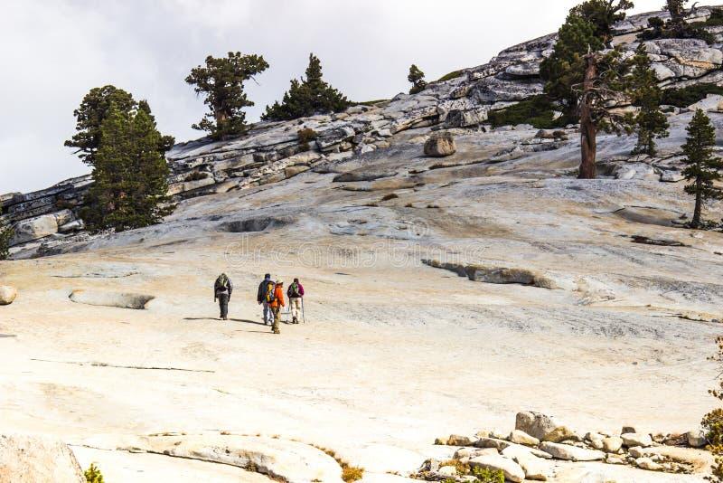 Vier Wanderer auf Gletscher-Haubenfelsen stockfotos