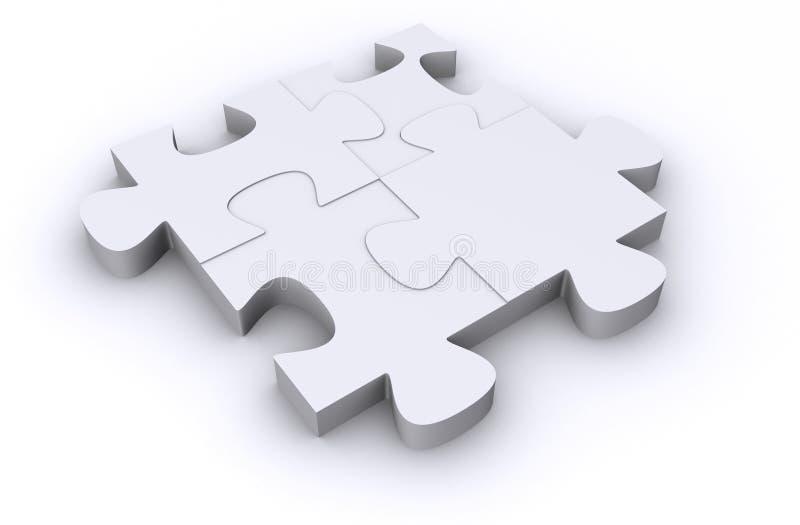 Vier weiße Puzzlespielstücke vektor abbildung