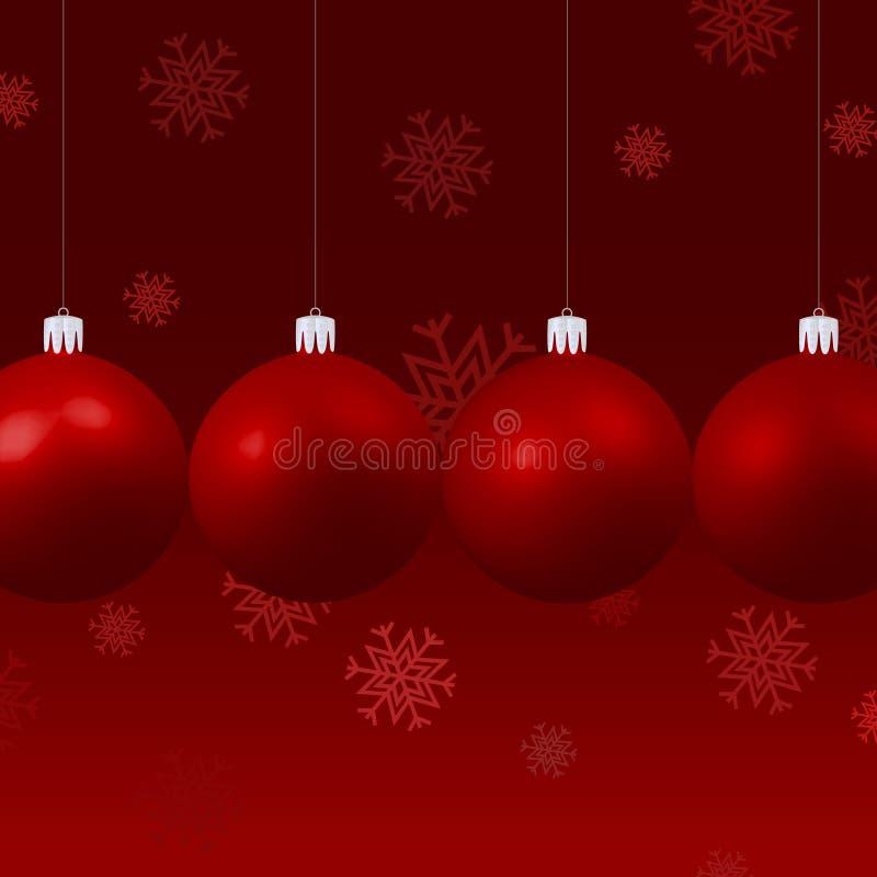 Vier Weihnachtsbälle, die nebeneinander hängen stock abbildung