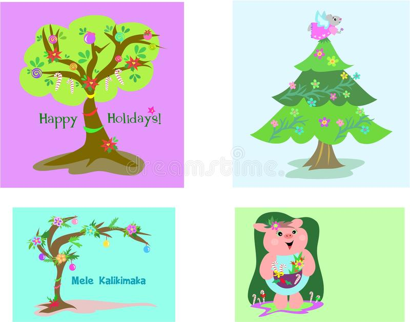 Vier Weihnachtsmarken stock abbildung
