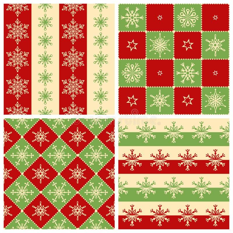 Vier Weihnachtsnahtlose Muster lizenzfreie abbildung
