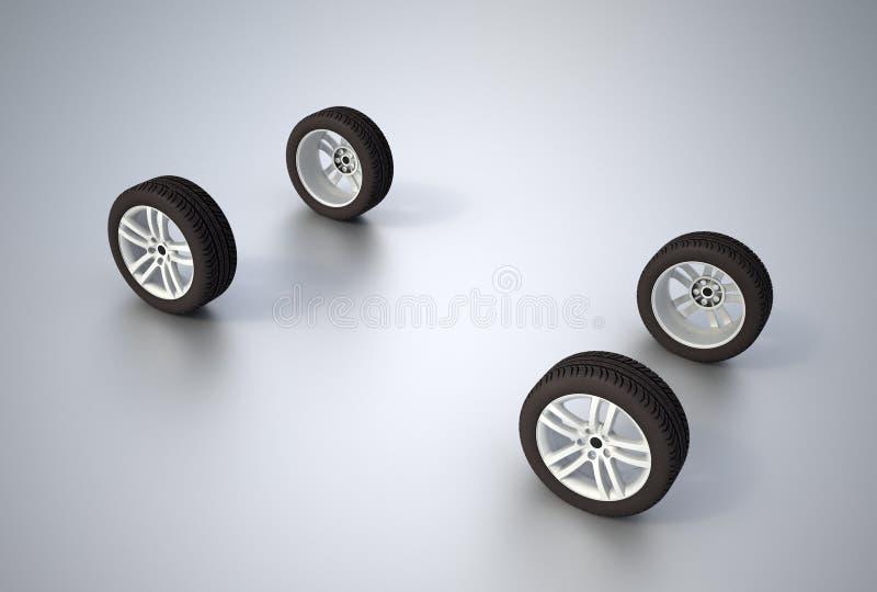 Vier wielen stock illustratie