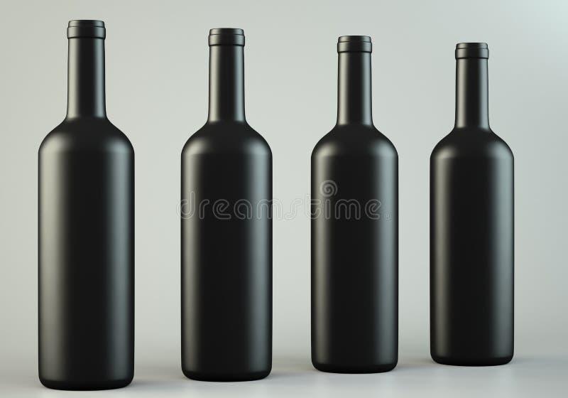 Vier wijnflessen vector illustratie