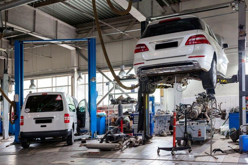 Vier witte gebruikte auto's met een open die kap op een lift voor het herstellen van de chassis en de motor in een voertuigrepara royalty-vrije stock foto's