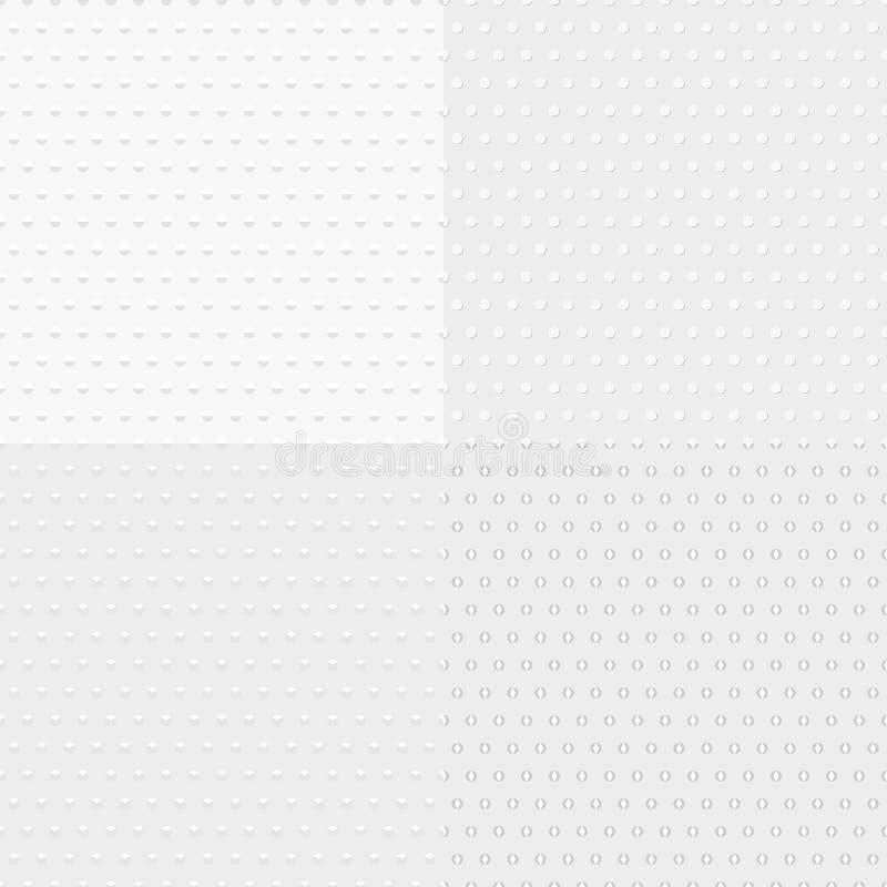 Vier witte geweven naadloze achtergronden, grijze cirkels, ruiten royalty-vrije illustratie