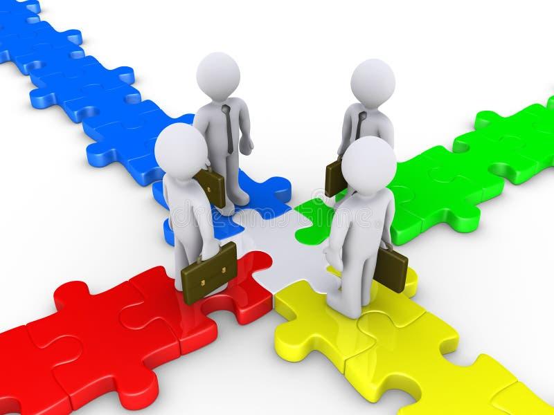 Vier zakenlieden komen op raadselkruispunt samen stock illustratie