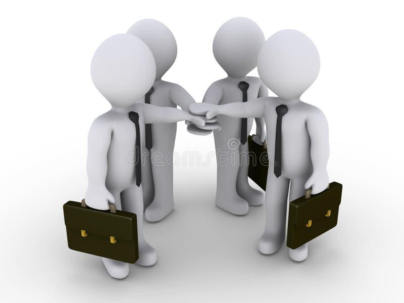 Vier zakenlieden sluiten zich aan bij handen vector illustratie