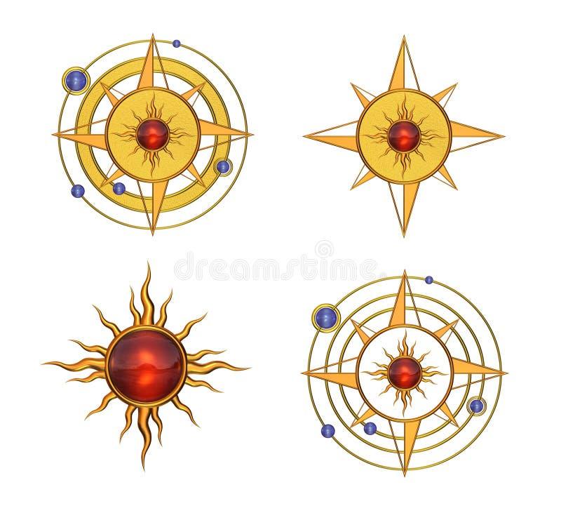 Vier Zonne Stervormige Symbolen royalty-vrije illustratie
