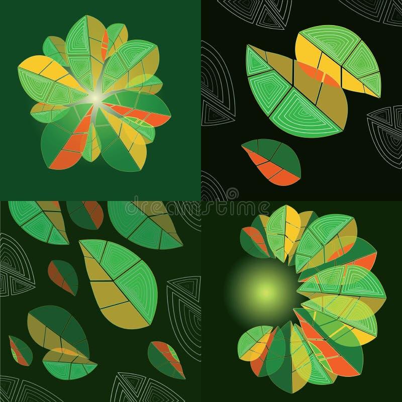 Vier Zusammensetzungen mit abstrakten Blättern lizenzfreie abbildung
