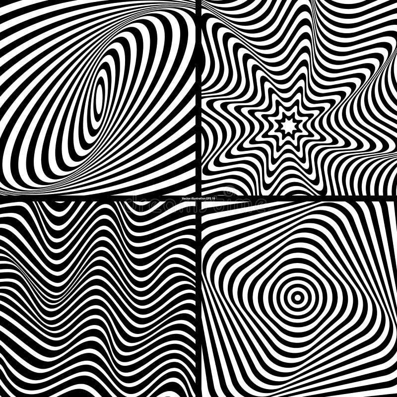 Vier zwart-witte abstracte achtergronden met optische illusie stock illustratie