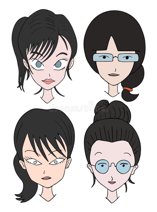 Vier zwarte gezichten van haarvrouwen vector illustratie