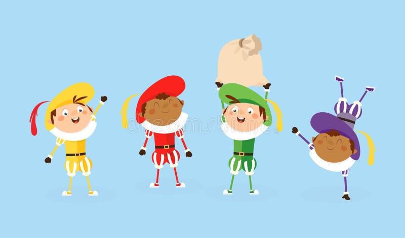 Vier Zwarte Piet Sinterklaas of Sinterklaas-helpers - vectordieillustratie op wit wordt geïsoleerd stock illustratie