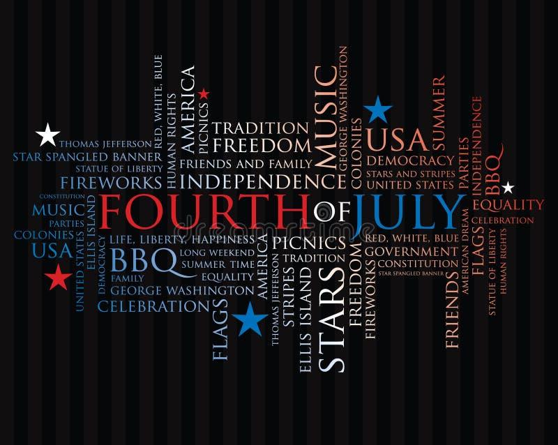 Vierde juli woorden royalty-vrije illustratie