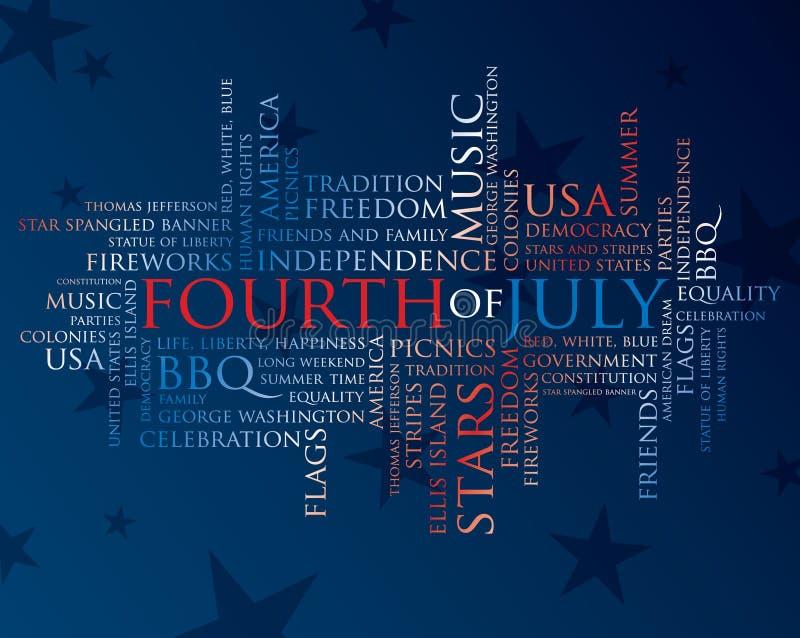 Vierde juli woorden vector illustratie