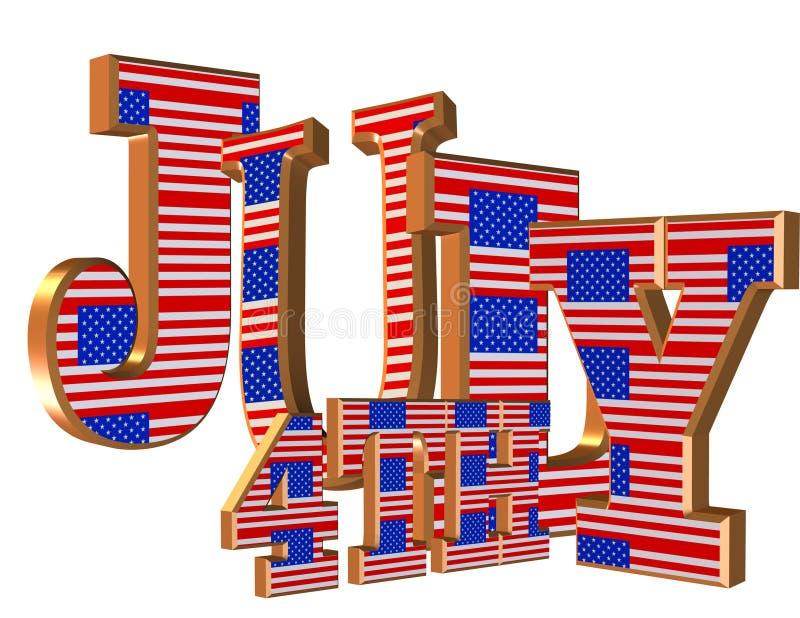 vierde van 3D teksten van Juli vector illustratie