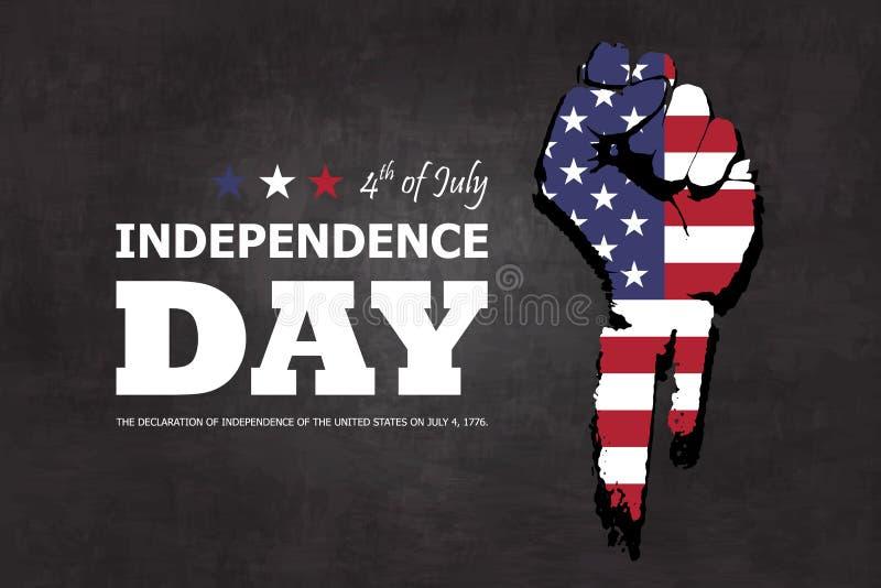 vierde van gelukkige de onafhankelijkheidsdag van Juli van de achtergrond van Amerika Ontwerp van het vuist het vlakke silhouet m stock illustratie