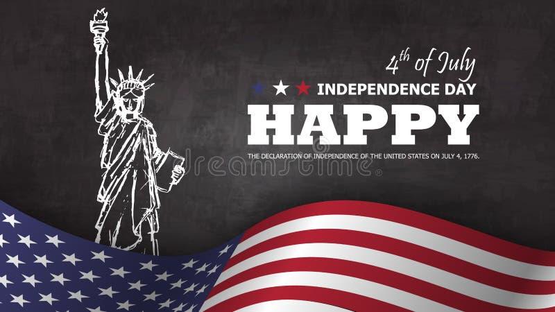 vierde van gelukkige de onafhankelijkheidsdag van Juli van de achtergrond van Amerika Standbeeld van het ontwerp van de vrijheids royalty-vrije illustratie