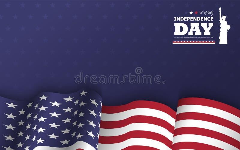 vierde van gelukkige de onafhankelijkheidsdag van Juli van de achtergrond van Amerika Standbeeld van ontwerp van het vrijheids he vector illustratie