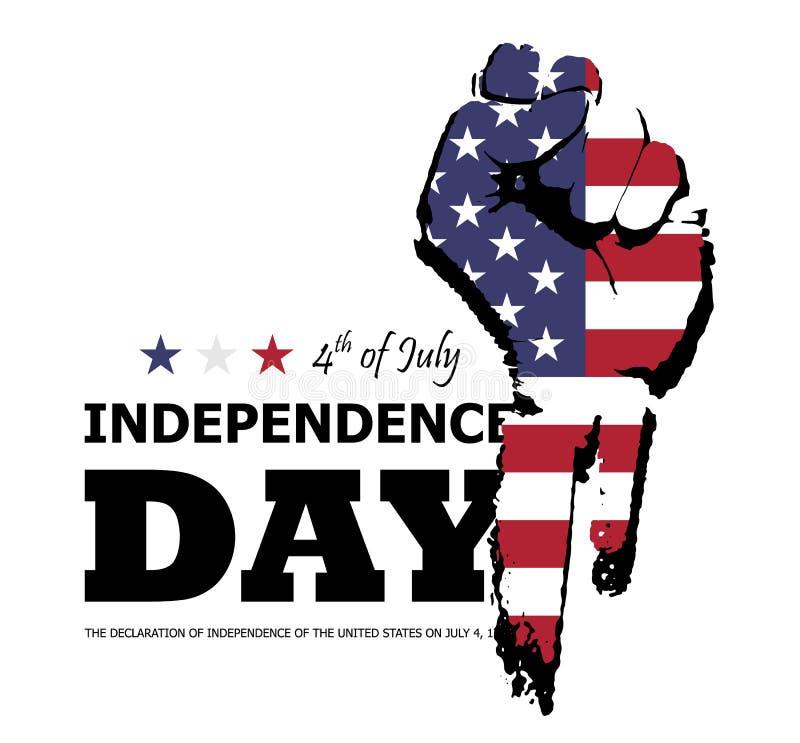 vierde van gelukkige de onafhankelijkheidsdag van Juli van Amerika Ontwerp van het vuist het vlakke silhouet met Amerikaanse vlag royalty-vrije illustratie