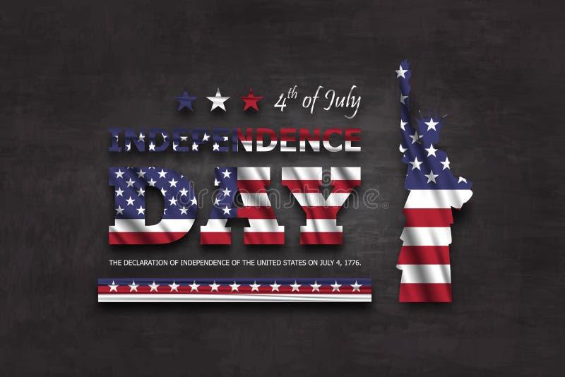 vierde van gelukkige de onafhankelijkheidsdag van Juli van Amerika Standbeeld van vrijheid met tekst en golvende Amerikaanse vlag vector illustratie