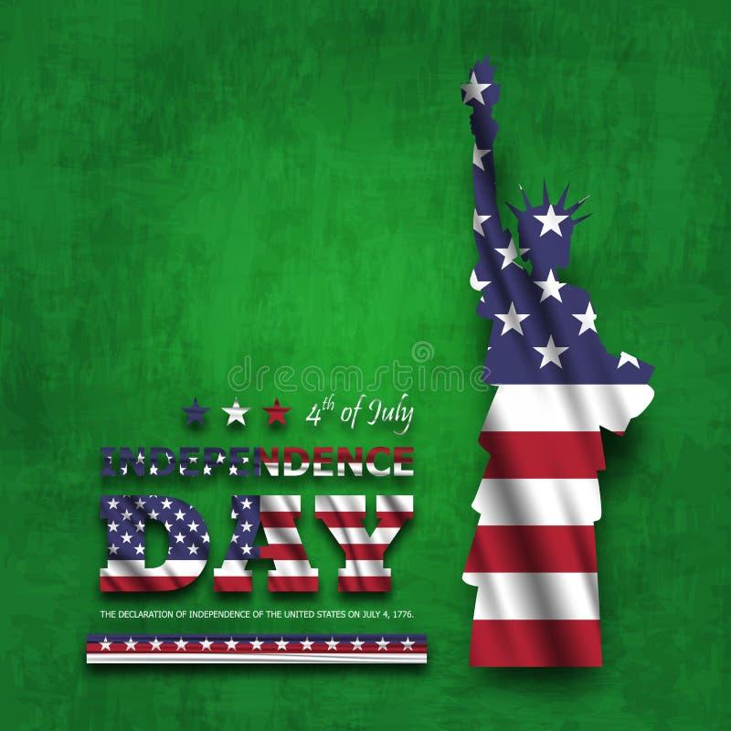 vierde van gelukkige de onafhankelijkheidsdag van Juli van Amerika Standbeeld van vrijheid met tekst en golvende Amerikaanse vlag royalty-vrije illustratie